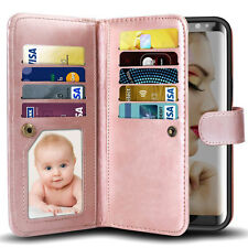 For Samsung Galaxy S8 Plus Wallet Case Leather Card Pocket Removable Phone Cover
