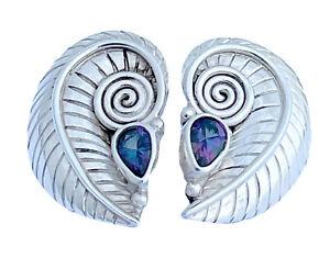 Vintage Signed Sajen Sterling Silver Tanzanite Spiral Swirl Shell Earrings