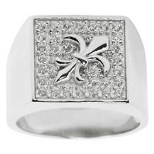 Fleur de Lis Sterling Silver Men's Ring (Size 9)