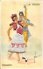 POSTCARD    SPAIN   MADRID    PANADEROS   (  CLOTH  CARD  )