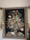 Vintage french wall tapestry hanging, Floral With Rods And Tassels 28x36