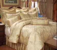 King Size Comforter Set Gold 9 Piece Bed in a Bag Bedding Bedspread Ruffle Shams