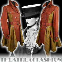 TOPSHOP VINTAGE TRENCH RIDING COAT TWEED 40s 50s FEMME FATALE VICTORIAN MISTRESS