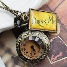 Antique Bronze Drink Me Alice In Wonderland Round Pocket Watch Necklace Watch