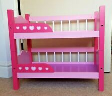 Pink Wooden Dolls Bunk Beds and Bedding