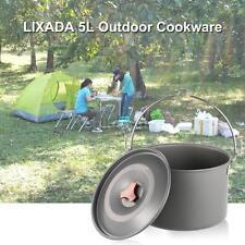 5L Outdoor Hanging Pot Aluminum Cooking Camping Hiking Bonfire Pot H5A6