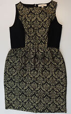 Ann Taylor Loft Womens Dress Sleeveless Jacquard Career Shift Black Gold 6