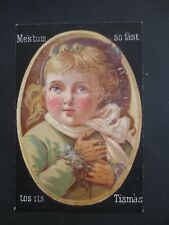 Antique CHRISTMAS Card Little Girl in Hat & Coat Black Background Victorian