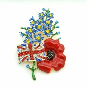 SYMBOLIC UK FLAG RED POPPY FORGET ME KNOT DIAMANTE  CRYSTAL BROOCH PIN