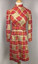Vtg 60's Bonwit Teller UNION MADE Plaid Metallic Belted High Neck Mod GOGO Dress