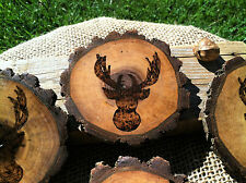 Rustic Deer Antler Silouette Wooden Coaster Set...Great Gift!