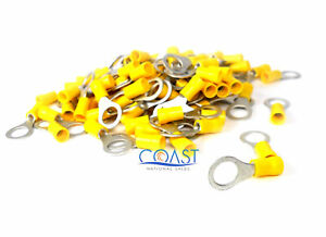 Xscorpion RTT38Y—12-10 Gauge #3/8 Hole Ring Terminals Yellow (100 PCS)