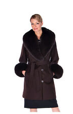 Womens Real Fox Fur Collar Cashmere Jacket - Brown 35- Plus Size