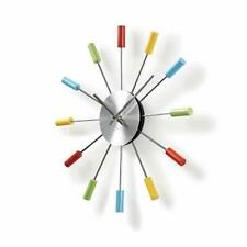 Colourful Fun Wall Clock Metal Arms Twelve Coloured Wooden Tips - 34cm Diameter