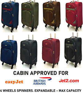 """21"""" Lightweight Max Hand Luggage Cabin Trolley Bags 4 Wheels Suitcases EasyJet"""