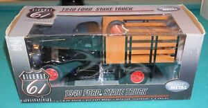 1940 Ford Stake Truck 1/16 Highway 61 Black Diecast New Never Out Of Box.