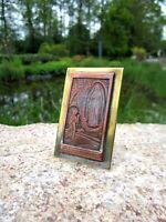 altes kleines Bild Apparition Maria de Lourdes Kupfer Messing versilbert gepunzt
