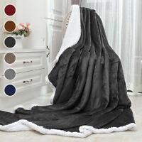 "Premium Sherpa Throw Blanket Ultra Soft   50"" x 60"" Reversible Microfiber Fleece"