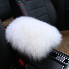 White Universal Sheepskin Car Armrest Console Seat Cover Pad Cushion Pillow Mat