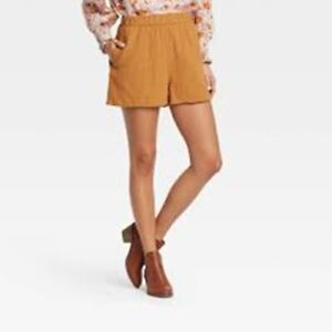 Women's High Rise Pull On Shorts Universal Thread Gold Size S