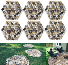New listing River Rock Stepping Stones Pavers Outdoor for Garden Set of 6 Roundness Hexagon