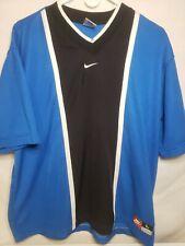 Nike team blue black v neck jersey Blank Large
