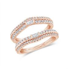 0.62CT 14K Oro Rosa Redondo Natural Corte Baguette Diamante For 3.0mm Anillos