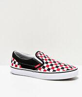 Brand New Women's Vans Slip-On Red, Black & White Checkered Skate Athletic Shoes
