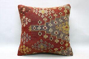 Kilim Pillow, 16x16 in, Ethnic Boho Pillow, Vintage Pillow, Decorative Pillow