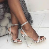 Bling Bling Ladies Ankle Strap Sandals High Heels Open Toe Party Casual Shoes US