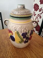 WEST GERMANY POTTERY RUMTOPF HAND PAINTED DESIGN