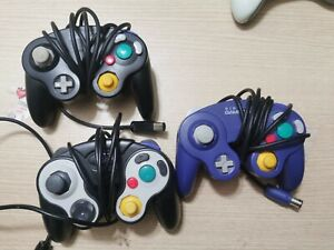 2 Black 1 purple Nintendo GameCube Controller Wired lot of 3