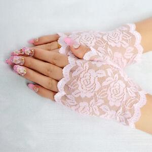 Sexy Women Short Lace Gloves Wrist Fingerless Bridal Wedding Costume Mittens