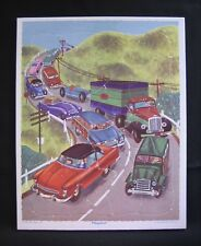 Vintage Playskool PUZZLE Golden Press Traffic Jam Cars Truck Litho Frame Tray