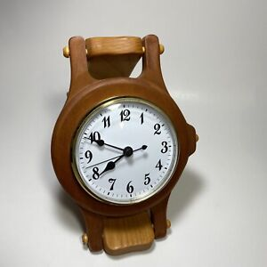 "Vintage Hand Carved Wood Watch Clock Battery Operated  23.5""x5.5"""