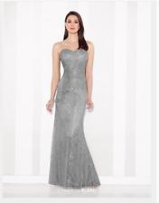 CAMERON BLAKE MON CHERI  216683 Lace Gown Silver Gray Ruched sz 6 NWT MOB Draped