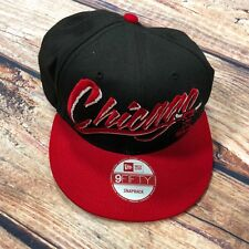 0cbfb3a8a63 Chicago Bulls Scarlet Red Black White New Era 9Fifty Snapback Hat Cap - D20