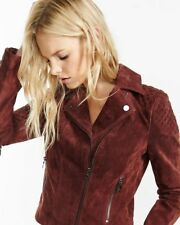 new OXBLOOD womens express genuine suede leather moto coat jacket s small