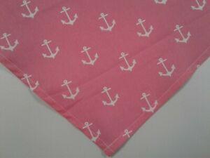 Nautical, Dog Bandana, Tie on, Nautical, Pink, White Anchors, S, M, L
