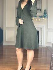 Express Long Bell Sleeve Empire V Neck Dress Green/Gray Women Size L NWT $49.90