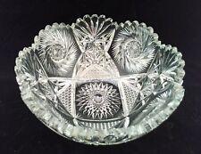 Crystal American Brilliant Large serving bowl Pinwheel pineapple design vintage