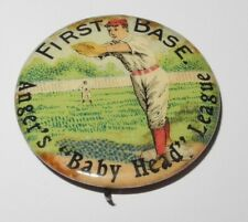 1896 PD1 Baseball Player 1B Position Anger's Baby Head League Advertising Pin