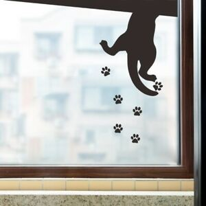 Black Puppy Climbing Footprints Wall stickers Living room Cupboard Home Decals