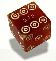 Vintage Casino Dice Bullseye Dice Marked Serial Numbered B49 Bulls Eye