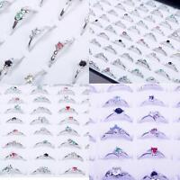 Elegant Woman Wholesale Lots 30pcs Rhinestone Assorted Silver Plated Ring MZ