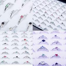 Newly Woman Wholesale Lots 30pcs Rhinestone Assorted Silver Plated Ring VV#CA