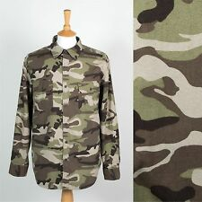 MENS CAMOUFLAGE SHIRT GREEN CAMO FOREST DUCK DEER HUNTING ARMY SOFT COTTON XL