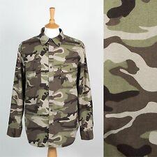 Para hombres Camisa Verde Camuflaje Camo Bosque Pato Ciervo Caza Ejército Algodón Suave XL