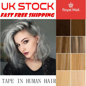 8A 22''-24'' Tape In 100% Remy Real Human Hair Extensions Thick Seamlees UK
