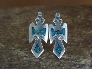 Navajo Indian Jewelry Sterling Silver Chip Inlay Water Bird Post Earrings by S.